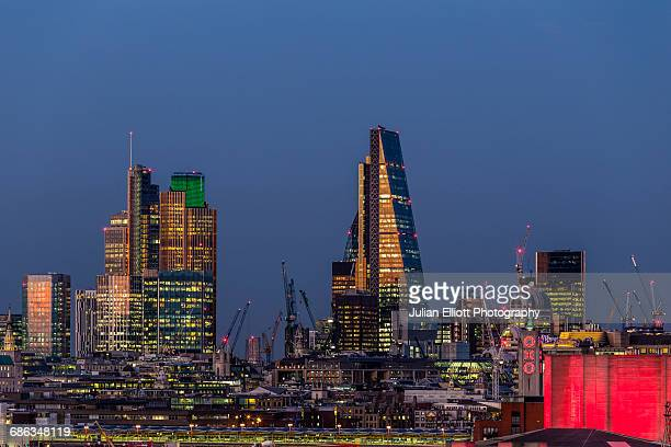 The City of London at night.