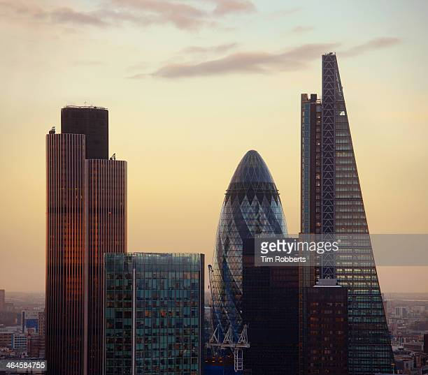 The City of London at sunset.