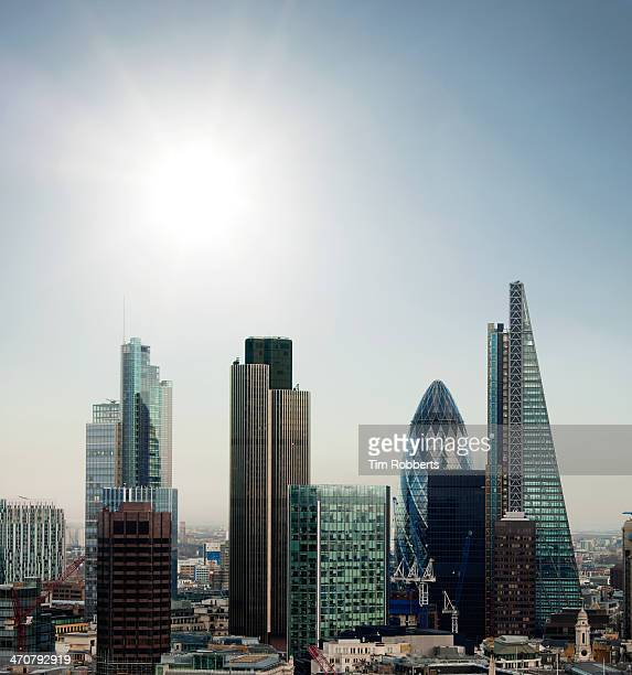 The City of London financial district with sun