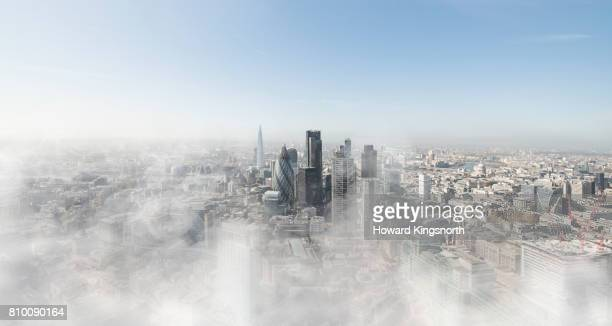 The City of London in early morning mist, elevated view