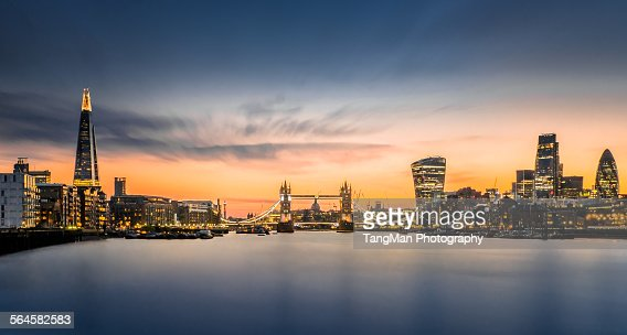 The city of London in sunset scene