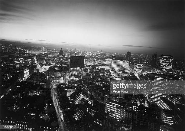 The City of London skyline at night taken from Union House Threadneedle Street 1st December 1970
