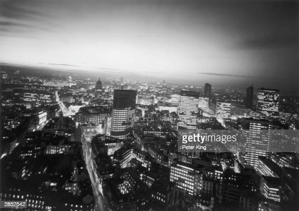 The City of London skyline at night taken from Union House Threadneedle Street 1st December 1970