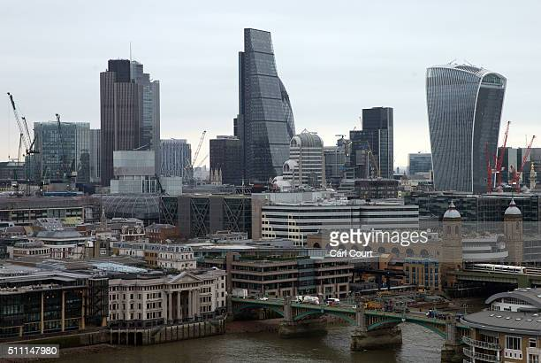 The City of London skyline is pictured from the top of the extension of the Tate Modern on February 17 2016 in London England Construction on the...