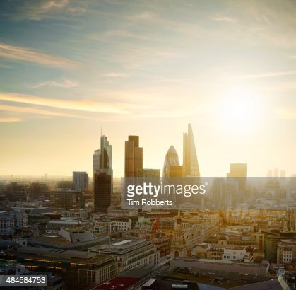 The City of London with sun. : Stock Photo
