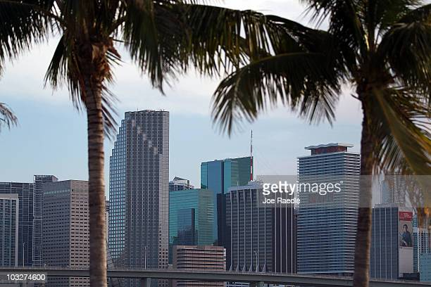 The City of Miami skyline is seen on August 6 2010 in Miami Florida As thousands of newly built condominium units start to fill up with new owners...