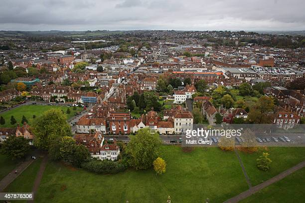 The city of Salisbury is seen from the spire of Salisbury Cathedral on October 24 2014 in Wiltshire England Travel guide Lonely Planet has named...