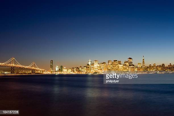 The city of San Francisco in the early hours of night