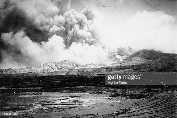 The city of St Pierre lies in ruins after the eruption of the Mount Pelee volcano in which 30000 people were killed and only 2 survived 2 days after...