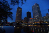 The city of Tampa downtown skyline is seen on July 11 2012 in Tampa Florida The 2012 Republican National Convention opens at the Tampa Bay Times...
