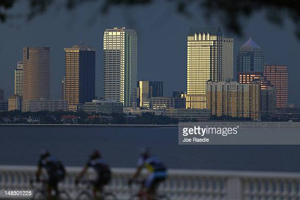 The city of Tampa's downtown skyline is seen on July 12 2012 in Tampa Florida Tampa will play host the 2012 Republican National Convention at the...