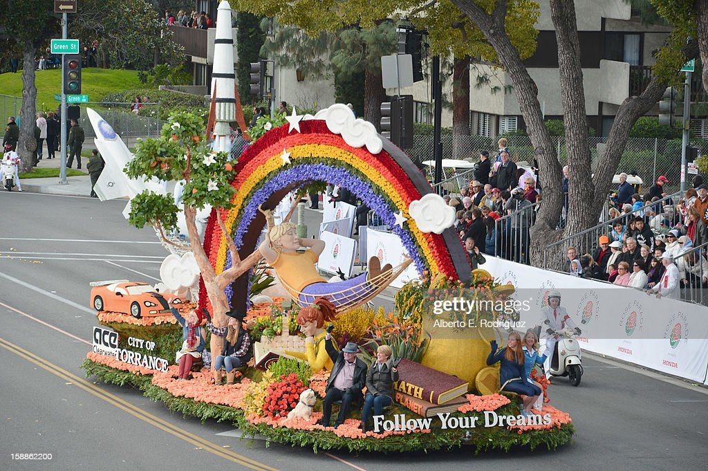 The City of Torrance float participates in the 124th Tournamernt of Roses Parade on January 1, 2013 in Pasadena, California.