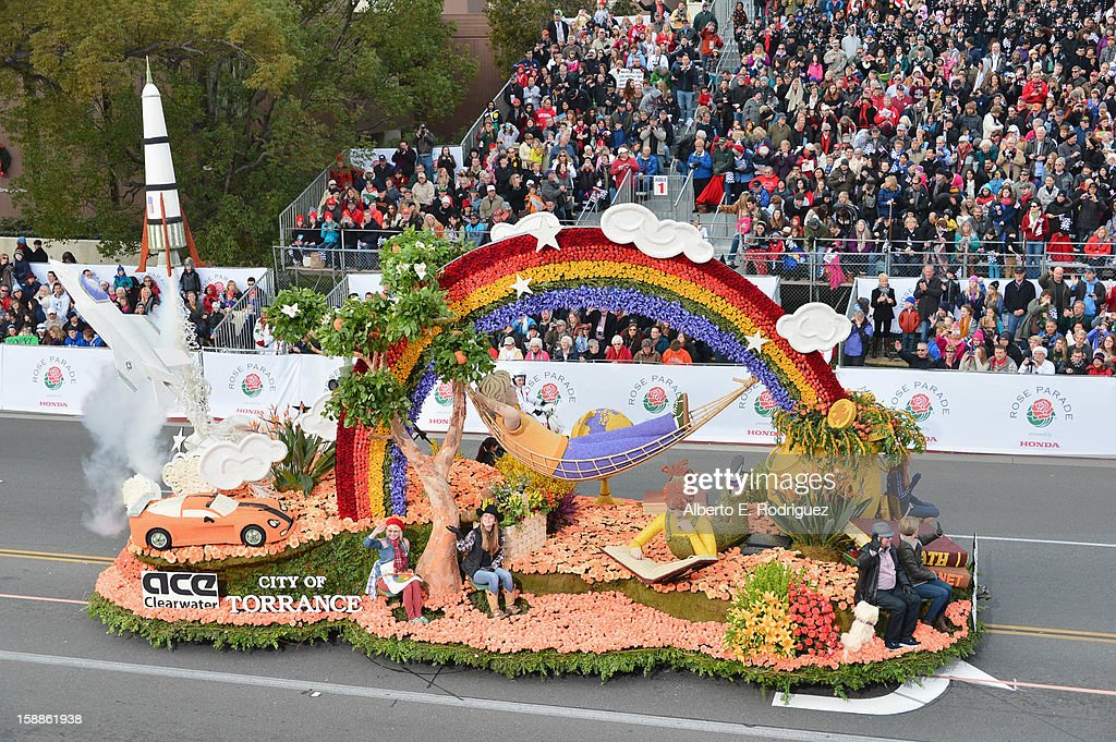 The City of Torrence float participates in the 124th Tournamernt of Roses Parade on January 1, 2013 in Pasadena, California.