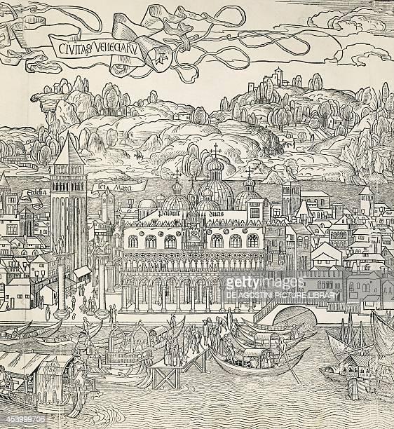 The city of Venice Italy engraving by Bernard Von Breydenbach 15th century Venice Museo Correr