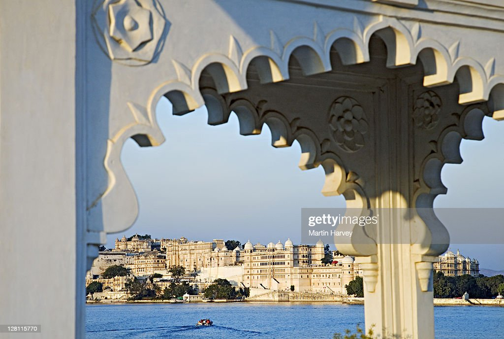 The City Palace Complex built on the banks of Lake Pichola. These palaces once hosted royal families and their guests, but today form part of the HRH Group of Hotels. Udaipur, India. : Stock Photo