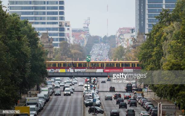 The city railway of Berlin is pictured above the Bismarckstrasse on October 07 2017 in Berlin Germany