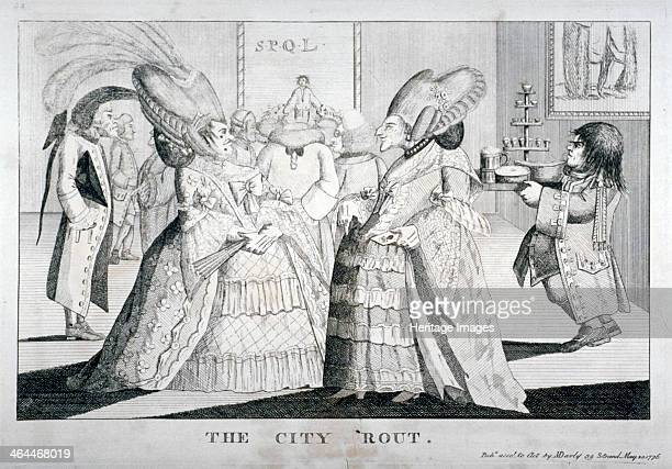 'The City rout' 1776 People standing in conversation at a party One wears aldermanic gown On picture in background are the letters SPQL standing for...