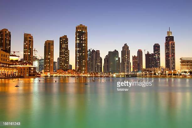 The city skyline at night from Dubai mall