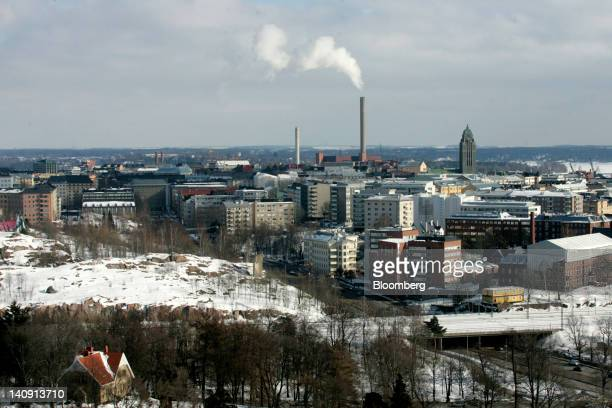 The city skyline is viewed from the Olympic stadium tower in Helsinki Finland on Wednesday March 7 2012 The antieuro 'The Finns' party asked the...