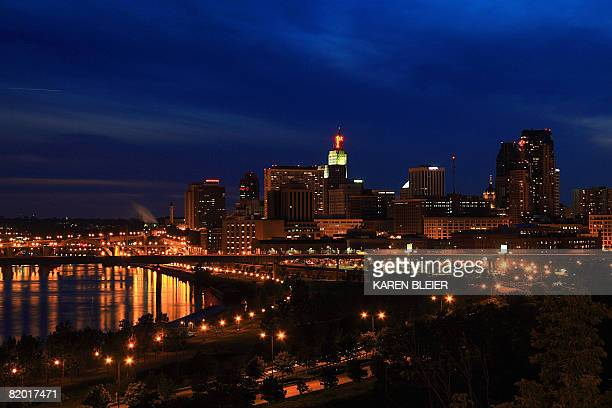 The city skyline of St Paul Minnesota is seen on July 20 2008 The Republican National Committee was given control of the Xcel Energy Center on July...