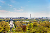 The urban skyline of the city of Washington D.C as viewed from the Arlington Cemetery.
