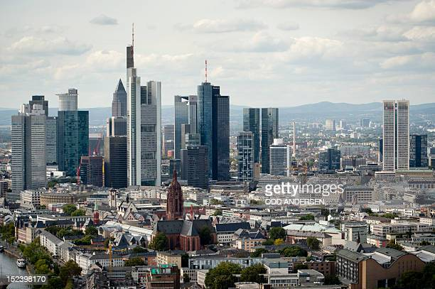 The city skyline with the bank high rise buildings are seen from the 38th floor of ECB's new building under construction in Frankfurt/M western...