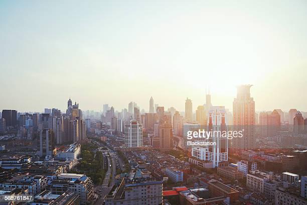 The city sunset