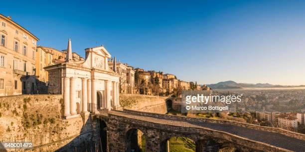 The city walls of Città Alta (Upper town). Bergamo, Italy.