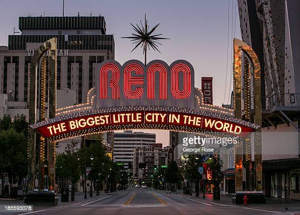The city's famous The Biggest Little City in the World neon sign is shown at sunrise on September 14 in Reno Nevada Reno located in the northwest...