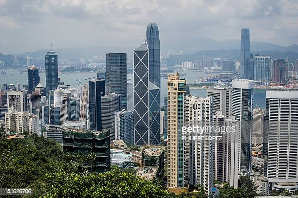 The city's skyline is seen from a hill in Hong Kong on September 9 2012 Hong Kong voters went to the polls in legislative elections seen as a crucial...