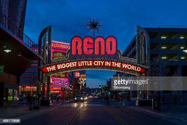 The city's slogan is displayed in neon lights over Virginia Street in Reno Nevada US on Thursday March 19 2015 Reno a town that built an economy on...