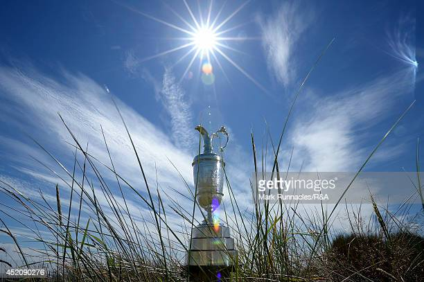 The Claret Jug in the sand dunes during the Aberdeen Asset Management Scottish Open at Royal Aberdeen Golf Club on July 13 2014 in Aberdeen Scotland