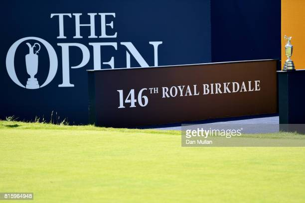 The Claret Jug is seen on the 1st tee during a practice round prior to the 146th Open Championship at Royal Birkdale on July 17 2017 in Southport...