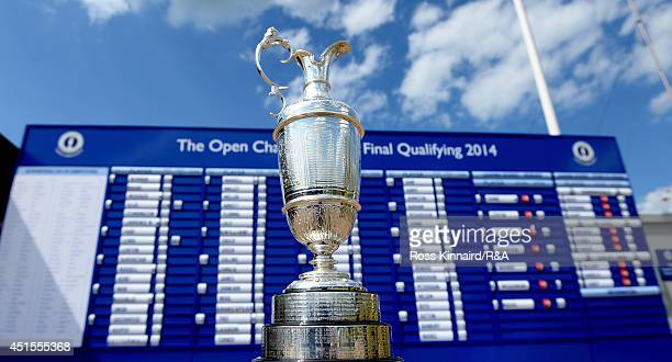 The Claret Jug pictured in front of the leader board during final qualifying for The Open Championship on the Marquess Couse at the Woburn Country...