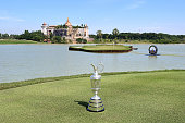 The Claret Jug sits at the 17th hole plays a shot during round four of the Thailand Golf Championship at Amata Spring Country Club on December 14...