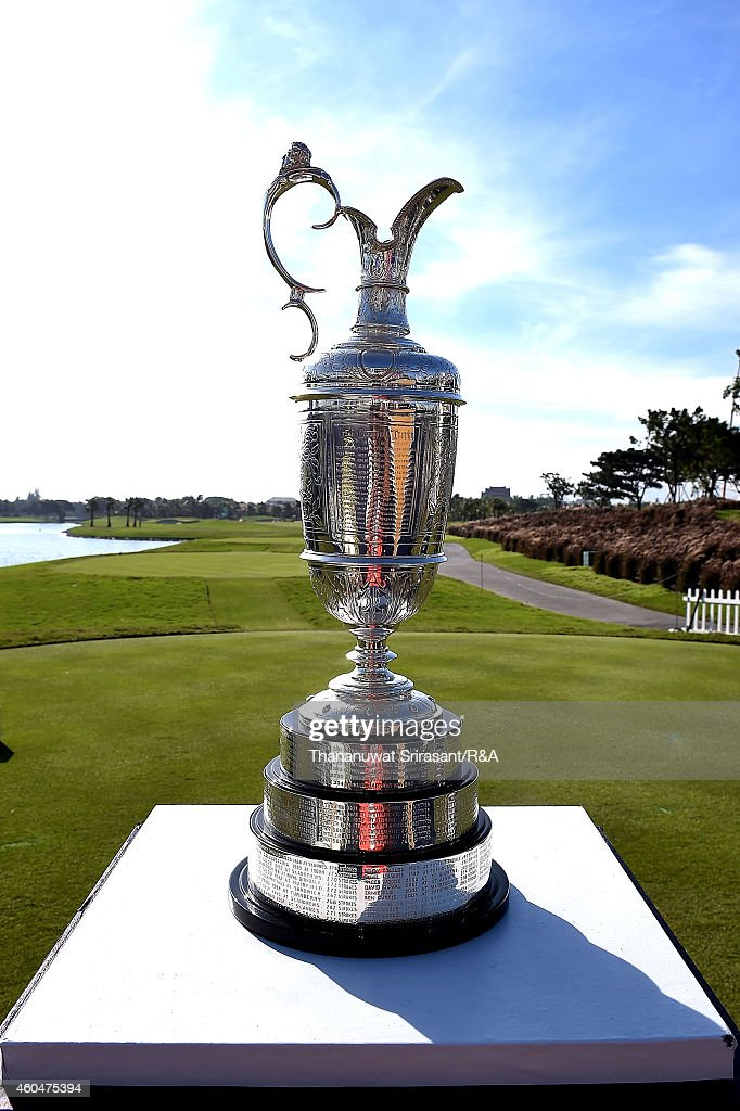 The Claret Jug sits at the 1st tee during round four of the Thailand Golf Championship at Amata Spring Country Club on December 14 2014 in Chon Buri...