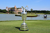 The Claret Jug sits at the hold 17th during round four of the Thailand Golf Championship at Amata Spring Country Club on December 14 2014 in Chon...