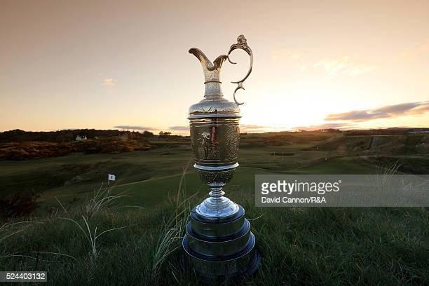 The Claret Jug sits beside the green at the par 3 eighth hole 'The Postage Stamp' during the Open Championship Media Day at Royal Troon Golf Club on...