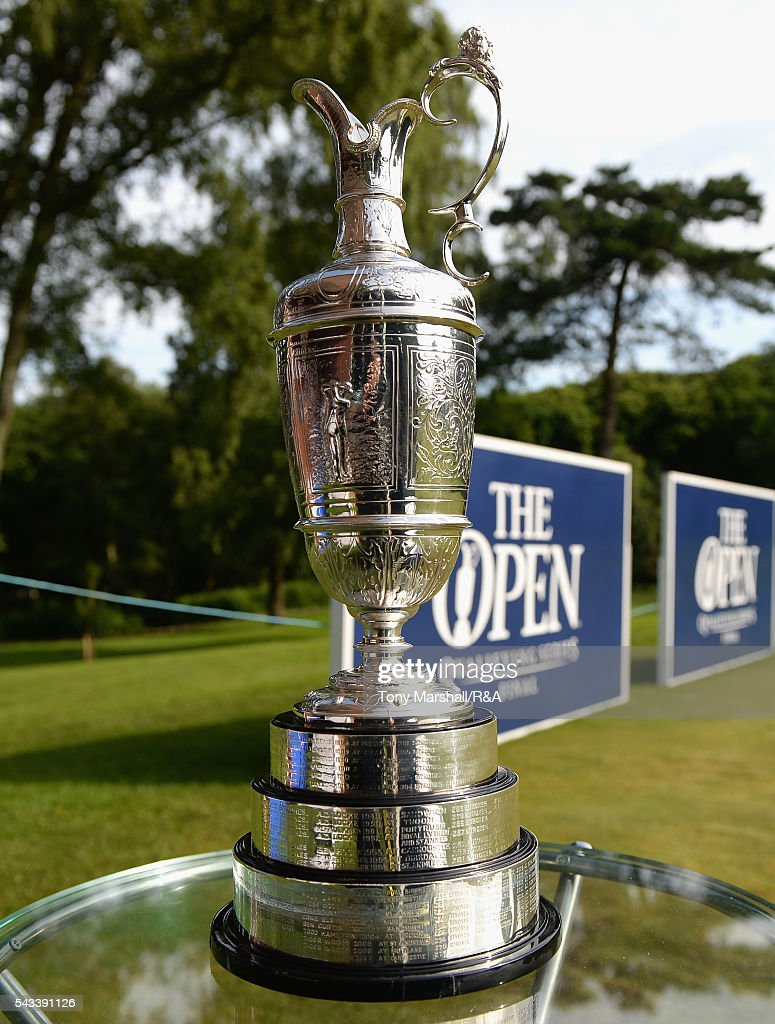 The Claret Jug stands on the 1st tee during the Open Championship Qualifying - Woburn at Woburn Golf Club on June 28, 2016 in Woburn, England.