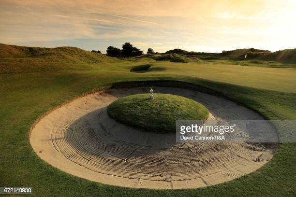 The Claret Jug the Open Championship beside the green at the seventh hole at Royal Birkdale Golf Club the host course for the 2017 Open Championship...