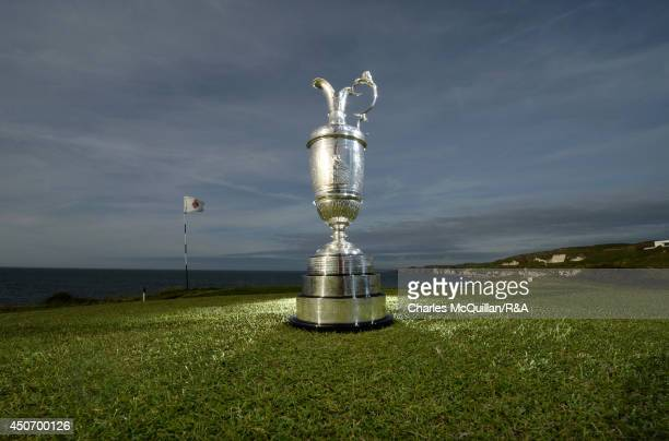 The Claret Jug the Open championship trophy at Royal Portrush Golf Club on June 16 2014 in Portrush Northern Ireland