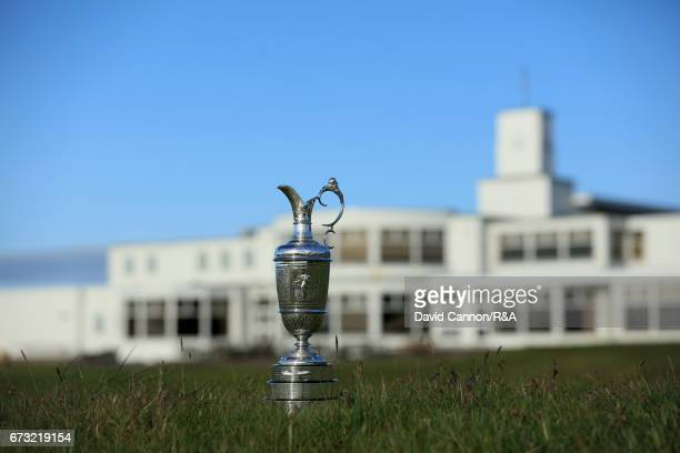 The Claret Jug the Open Championship trophy in front of the 18th green with the clubhouse behind at Royal Birkdale Golf Club the host course for the...