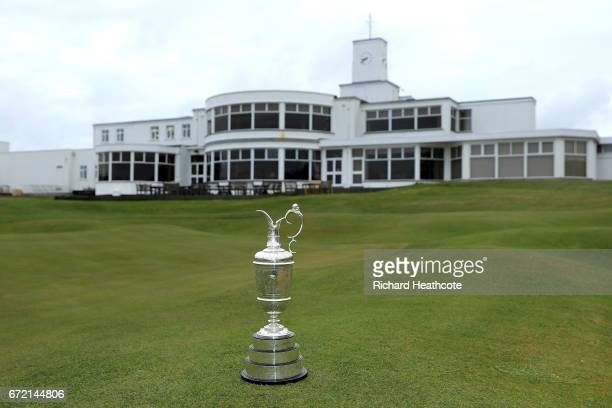The Claret Jug the Open Championship trophy in front of the clubhouse at Royal Birkdale Golf Club the host course for the 2017 Open Championship...