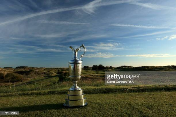 The Claret Jug the Open Championship trophy on the tee at the par 3 seventh hole at Royal Birkdale Golf Club the host course for the 2017 Open...