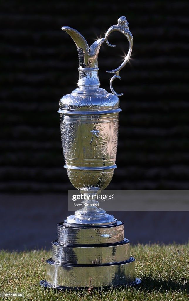 The Claret Jug trophy pictured at Murfield during The Open Championship media day at Muirfield on April 29, 2013 in Gullane, Scotland.