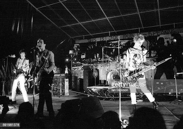The Clash performing on stage at Mont de Marsan 2nd Punk Festival France 05/06 August 1977 LR Mick Jones Joe Strummer Paul Simonon