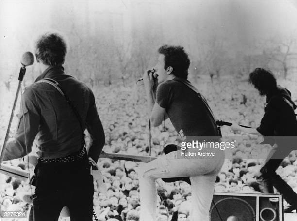 The Clash play live at one of the openair concerts of a British roadtour featured in the film 'Rude Boy' The film directed by Jack Hazan and David...