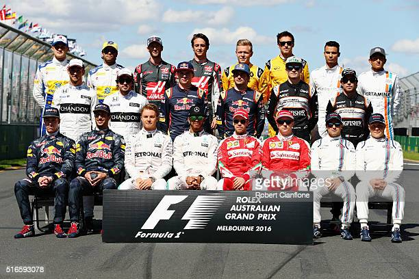 The class of 2016 F1 Drivers photo on the grid ahead of the Australian Formula One Grand Prix at Albert Park on March 20 2016 in Melbourne Australia