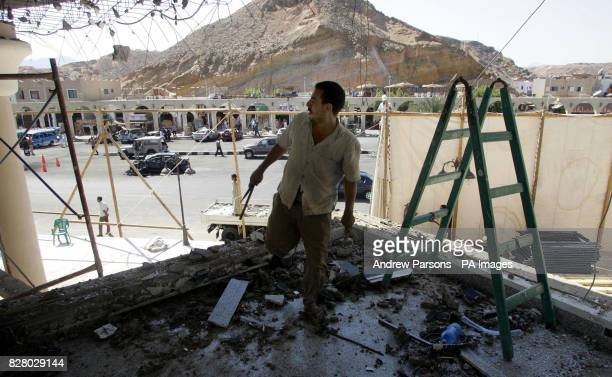 The clean up operation continues at the Tiran Centre in the old Town of Sharm Egypt after it was bombed One Briton is known to have died in the...