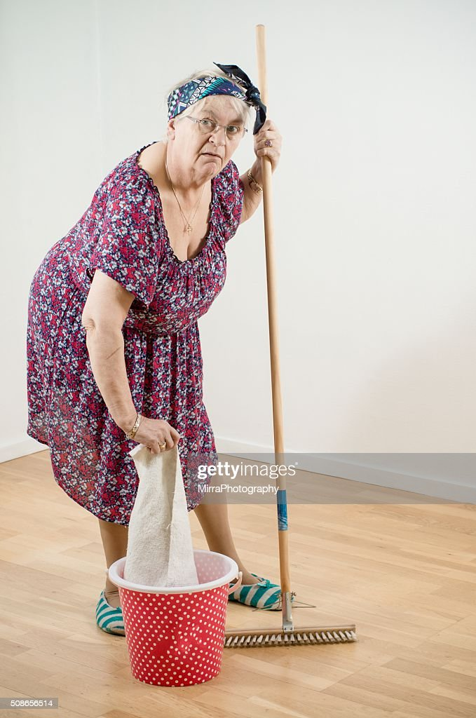 The cleaning lady is at work : Stock Photo